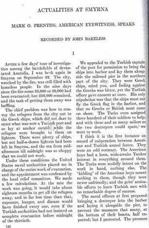 "First page of the 1924 article from the Atlantic Monthly, ""Actualities at Smyrna"""