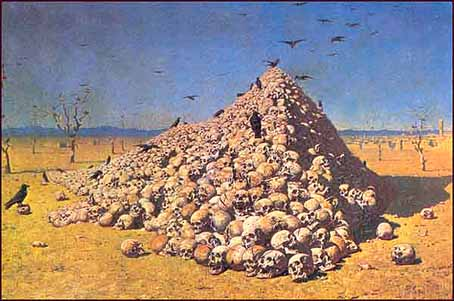 "Vassili Vereshchagin's ""The Apotheosis of War,"" altered to appear as photographic evidence for the Armenian ""Genocide"""