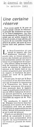 Le Journal de Genève, Oct. 14 1985, correcting its erroneous report that the U.N. Sub-Commission recognized the Armenians' genocide
