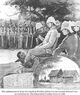 """The submission of King Prempeh to British officers in the second Ashanti war, as rendered by the Illustrated London News in 1896."""