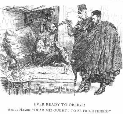Sultan Abdul Hamid with Emperor Franz Joseph and Tsar Nicholas I (Punch, 1903]