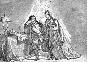 Catherine I consoles Peter the Great regarding the disastrous battle against the Turks