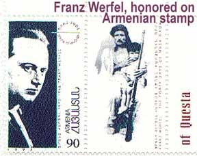 Franz Werfel honored on an Armenian stamp