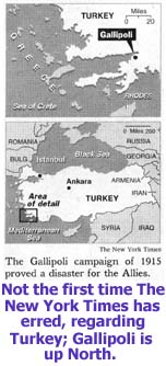 Mistaken map of Gallipoli by the New York Times