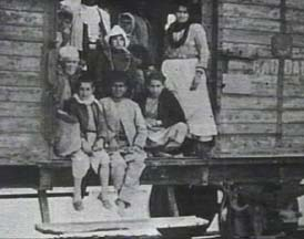 Armenians traveling by rail