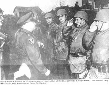 General Walton H. Walker of the US Army greeting Turkish soldiers in Korea