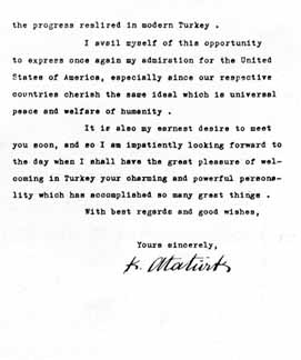 Second page of Ataturk's letter to FDR