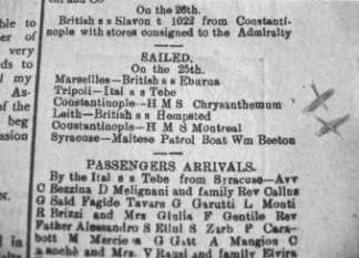 Press announcement on the sailing of the HMS Crysanthemum, carrying the Ottoman detainees from Malta