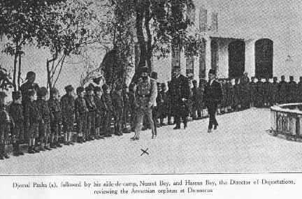 Djemal Pasha reviewing orphans