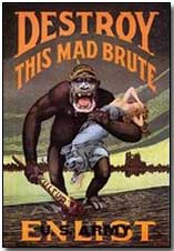"British propaganda poster, WWI: ""Destroy this mad brute"""