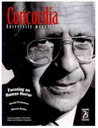 Frank Chalk, cover of Concordia University Magazine