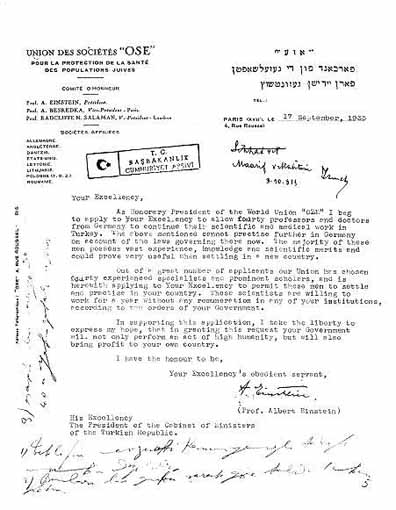 Letter of Albert Einstein to Turkey