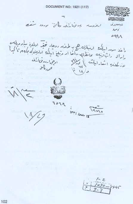 Ottoman Army report on the protection of Armenians